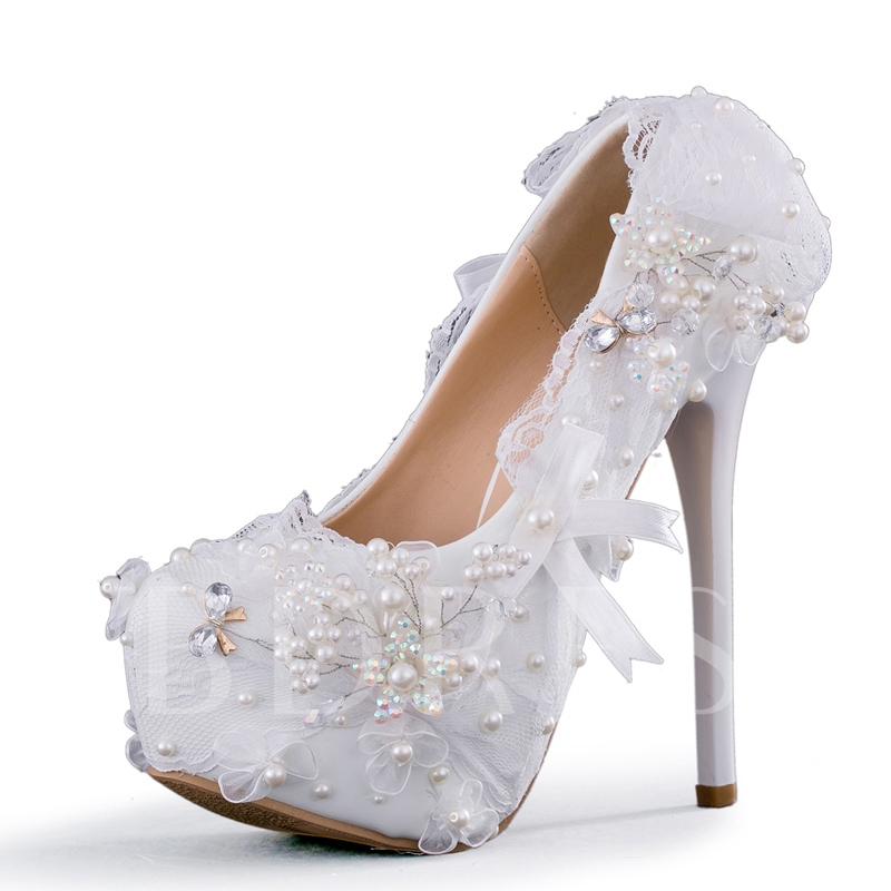 Buy Lace Bow Beads Slip On Wedding Shoes for Women, Spring,Summer,Fall, 13190086 for $80.99 in TBDress store