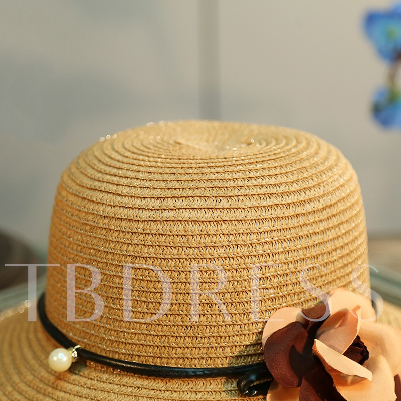 Bowknot Flower Imitation Pearl Straw Hat