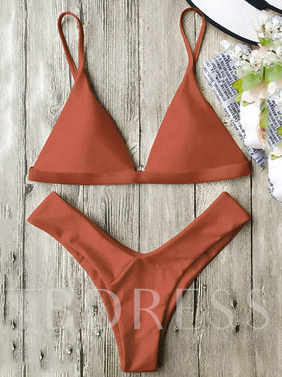 Candy Color Triangle Women's Bikini Set