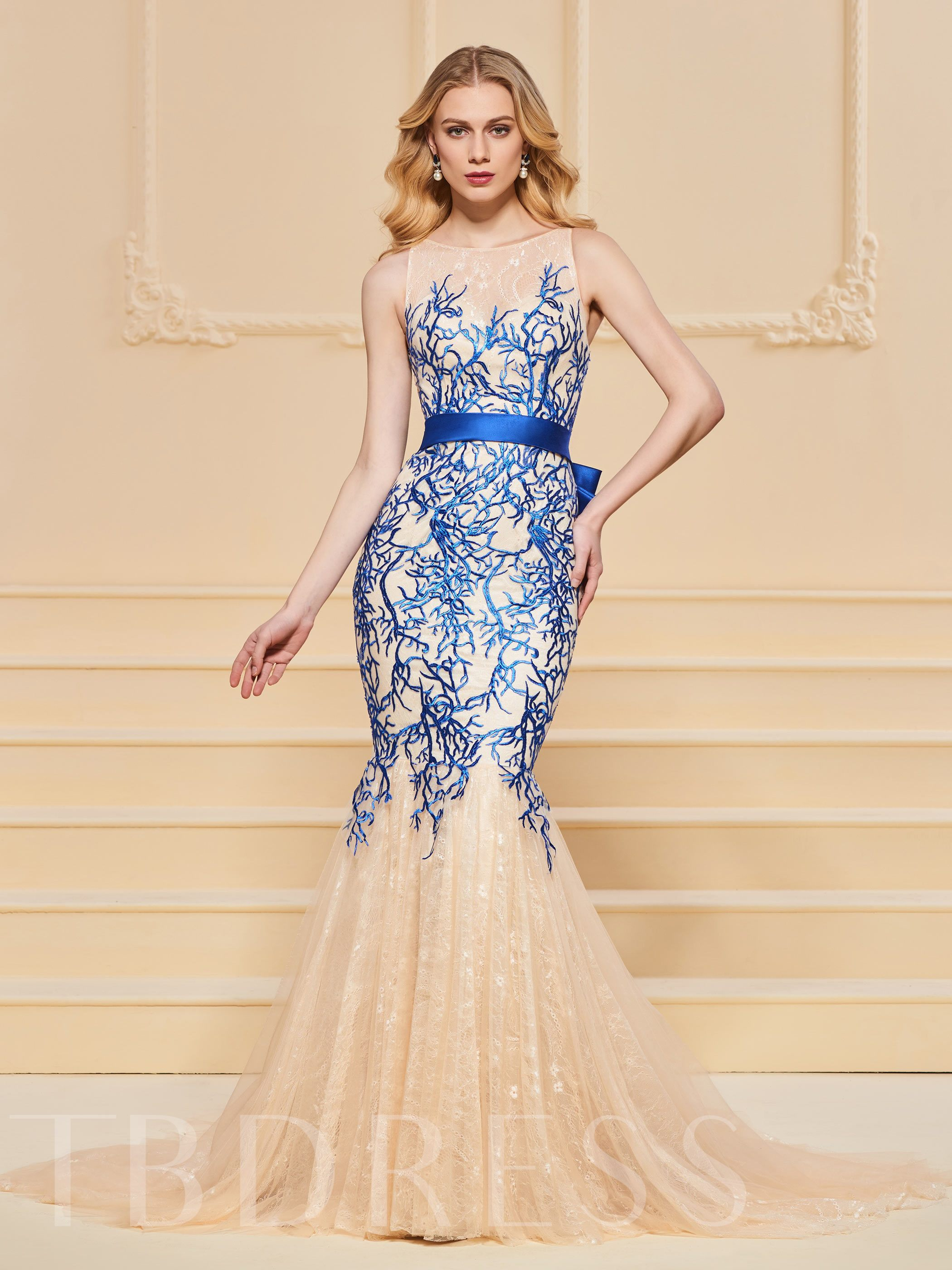 Buy Mermaid Bowknot Button Lace Evening Dress, Spring,Summer,Fall,Winter, 13190267 for $187.41 in TBDress store