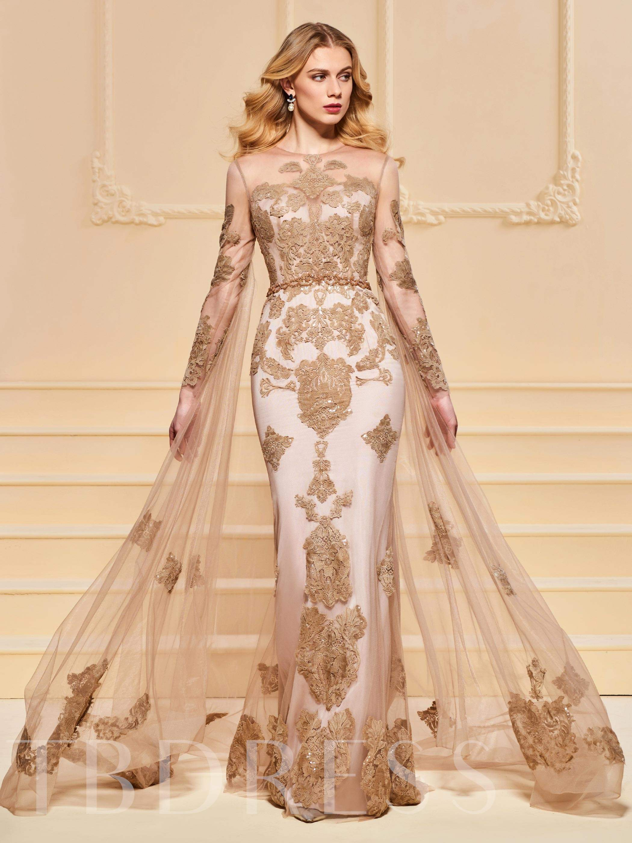 Buy Mermaid Scoop Beading Button Lace Evening Dress, Spring,Summer,Fall,Winter, 13190264 for $243.64 in TBDress store