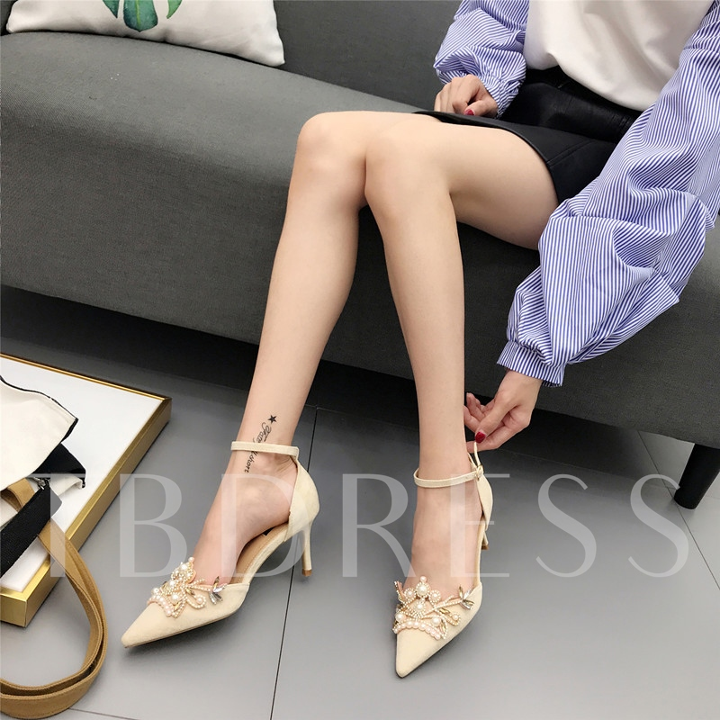 Slimmer Heel Beads Line Buckle Women's Prom Shoes