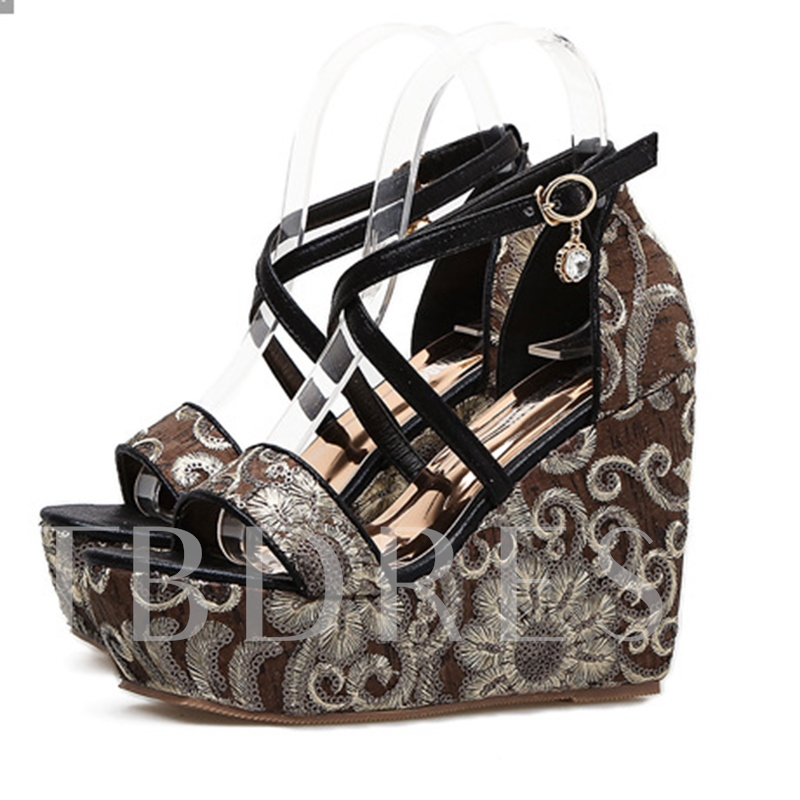 Court Style Printing Flower Women's Wedge Sandals