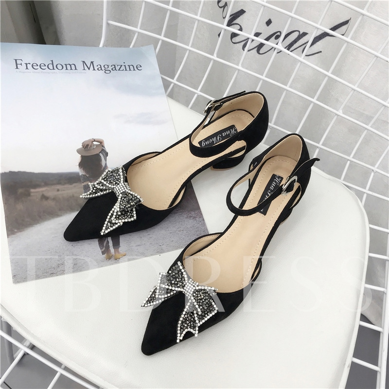 Buy Rhinestone Bow Line Buckle Chunky Heel Pumps, Spring,Summer,Fall, 13191446 for $28.99 in TBDress store