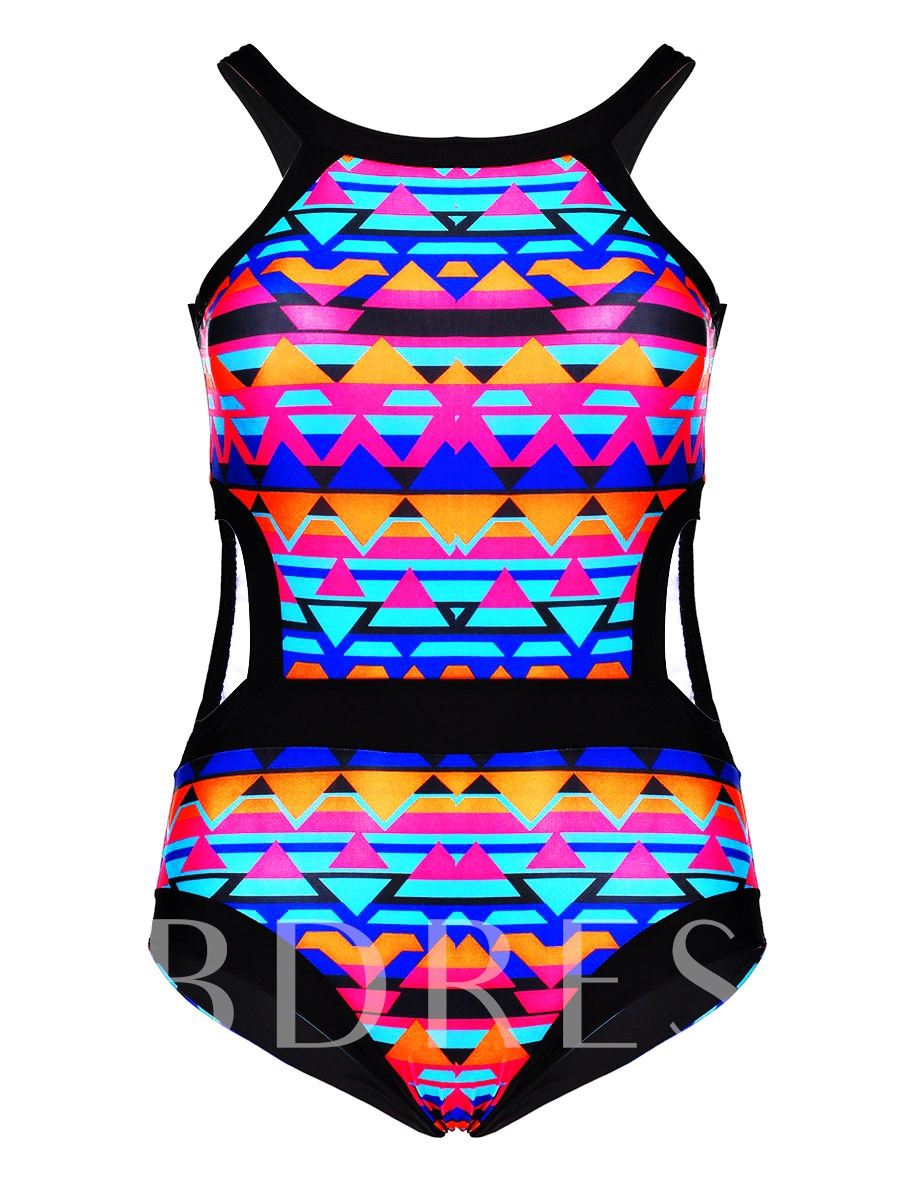 Color Block Hollow High-Neck Plus Size Swimwear