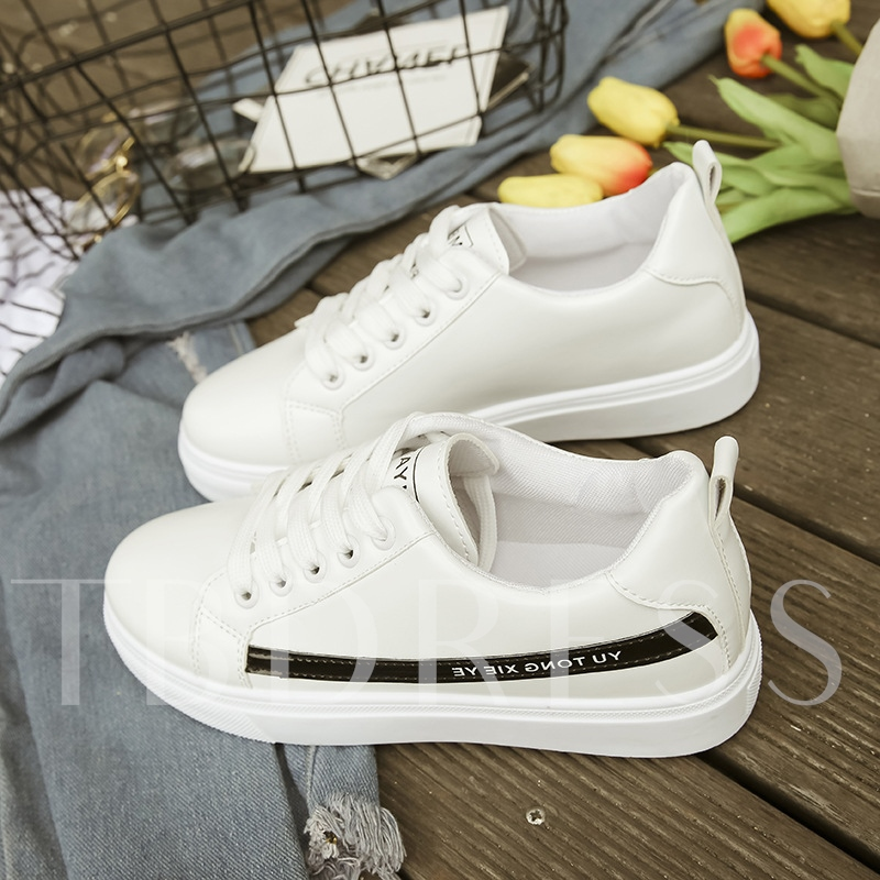 Buy Color Block Round Toe Lace Up Women's Skateboard, Spring,Summer,Fall, 13194108 for $23.99 in TBDress store
