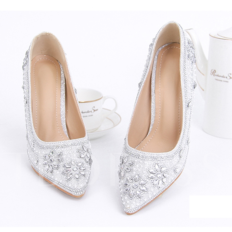 Buy Rhinestone Floral High Heel Silver Wedding Shoes, Spring,Summer,Fall, 13190003 for $72.99 in TBDress store