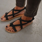 Plain Suede Buckle Thong Flat Sandals for Women