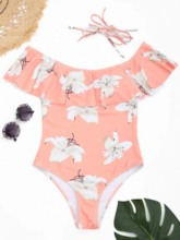 Flower Print Falbala Off-The-Shoulder One Piece Swimsuit