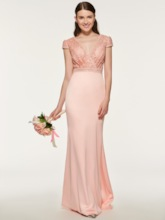 V-Neck Short Sleeve Lace Bridesmaid Dress