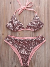 Absorbing Sequins Triangle Bikini Set