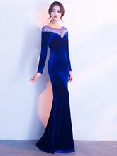 Mermaid Velvet Beading Long Sleeves Evening Dress