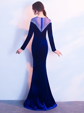 Mermaid Scoop Velvet Beading Evening Dress