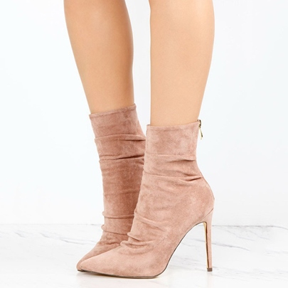 Pointed Toe Suede Back Zipper Ankle Boots for Women