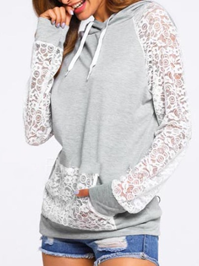 Chic Lace Long Sleeve Hooded Women's Top
