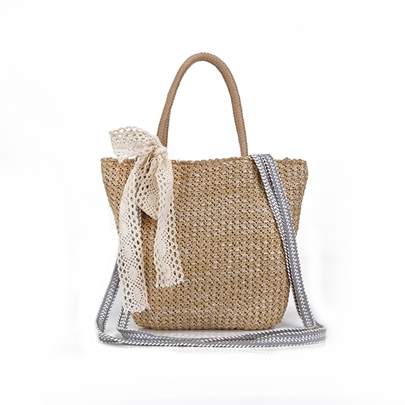 Concise Knitted Women Straw Bag