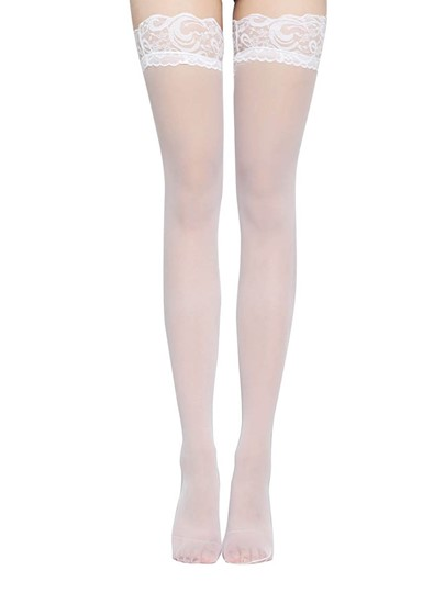 Plain Lace Thigh-High Stocking Compression Socks