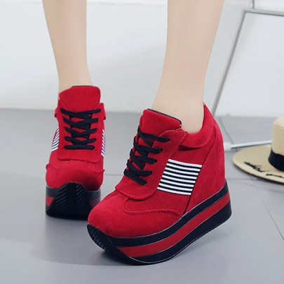 Platform Shoes Lace Up Stripe Sneakers for Women