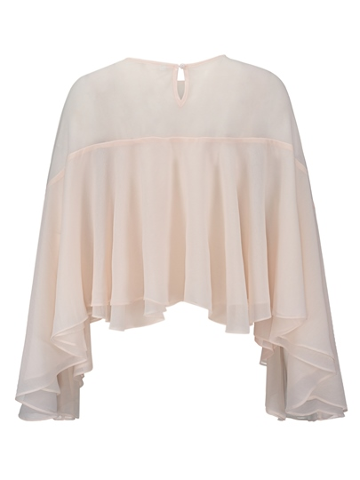 Chiffon Frill Asymmetric Women's Cape Top