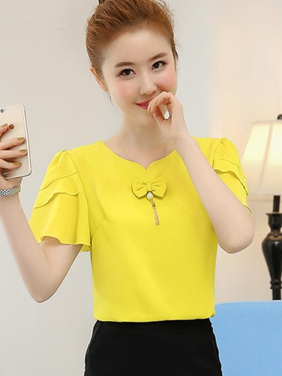 Chiffon Flare Short Sleeve Women's Top With Bowknot