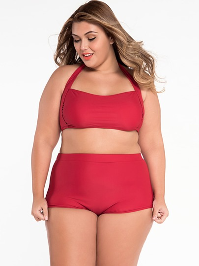 Cheeky Bum Halter Pure Color Women's Plus Size Bikini Set