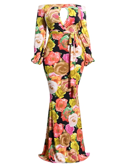 Long Sleeve Flower Printing Women's Maxi Dress