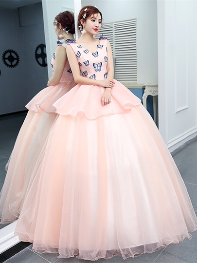 Appliques V-Neck Quinceanera Dress