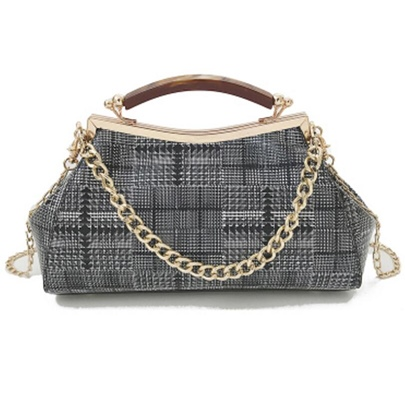 Vogue Plaid Pattern Women Handbag