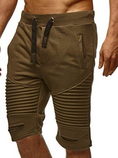 Lace-up Solid Color Slim Men's Short Pants
