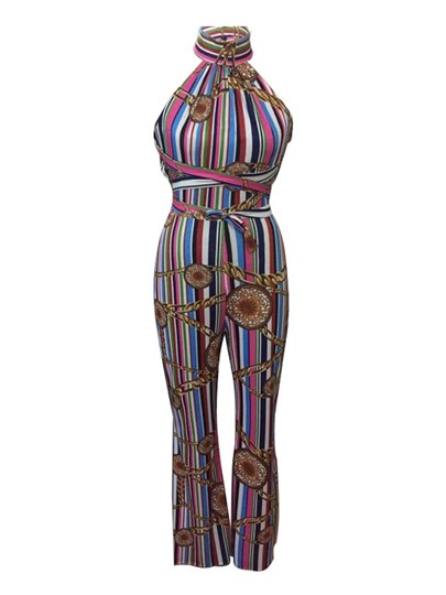 High Waist Stripe Wide Legs Sexy Backless Women's Jumpsuit