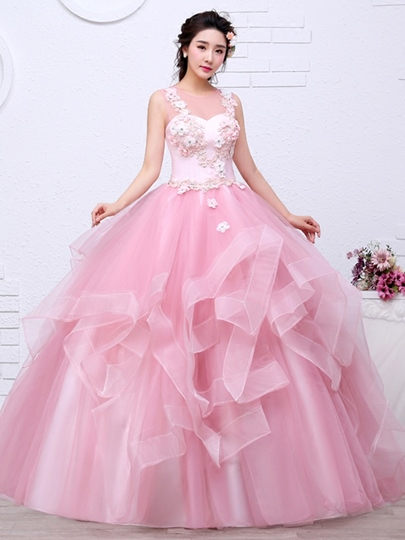 Appliques Beading Flowers Scoop Quinceanera Dress