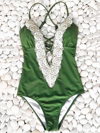 Green Lace Patchwork One-Piece Swimsuit