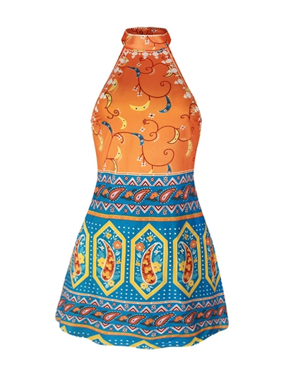 Women's Back Open Sleeveless Floral Print Dashiki Women's Party Dress