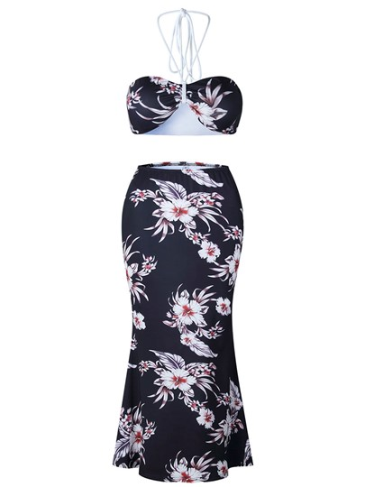 Floral Print Backless Women's Two Piece Dress