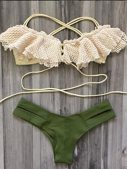 Crochet Falbala Lace-Up Women's Bikini Set