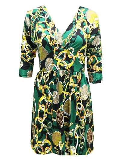 Green 3/4 Sleeve Printing Women's Day Dress