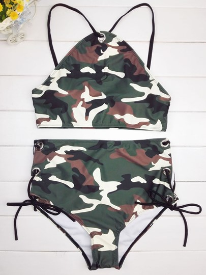 Wild Camouflage Lace-Up Sexy 2-Pcs High Waisted Bikini Set Swimsuit