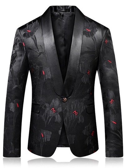 Floral Print Notched Collar Men's Blazer