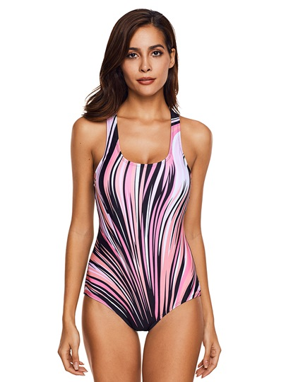 Striped Print Contrast Color Women's One Piece Swimsuit