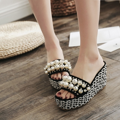 Rivet Pearl Platform Shoes Wedge Slippers for Women