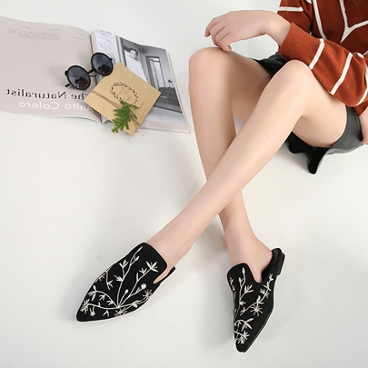 Block Heel Embroidery Plant Women's Mules Shoes
