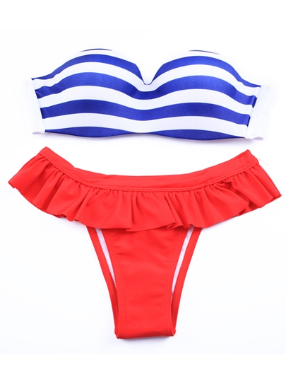 Vintage Navy Striped Underwire Falbala Bikini Set
