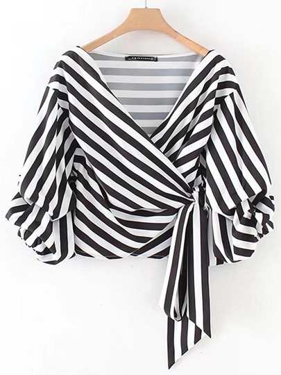 V-Neck Stripe Puff Sleeve Women's Wrap Top Blouse