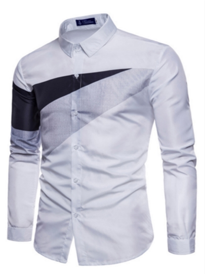 Lapel Color Block Plain Men's Shirt