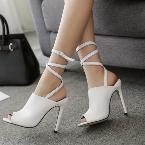 Peep Toe Ankle Lace Women's White High Heel Sandals