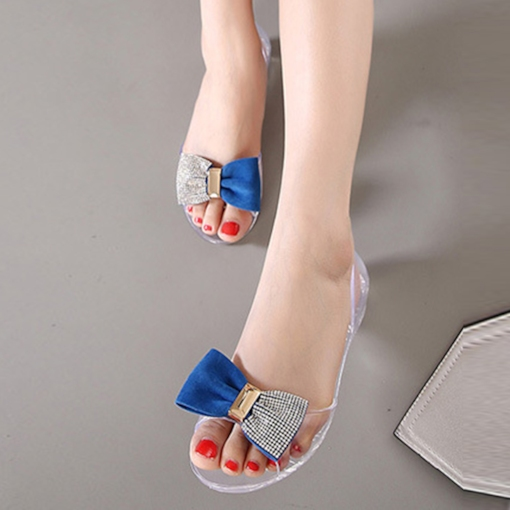 Rhinestone Bow Clear Flat Shoes for Women