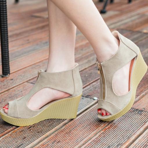 Peep Toe Suede Zipper Wedge Heel Sandals for Women