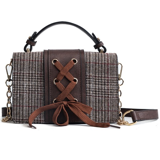 Personality Lace-ups Plaid Crossbody Bag