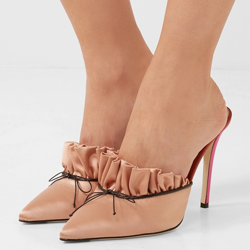 Ruffles Pointed Toe Slim Heel Mules Shoes for Women