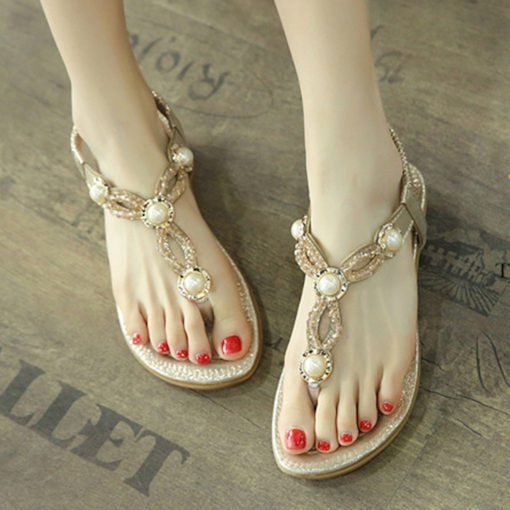 Strappy Bead Elastic Band Flat Women's Sandals